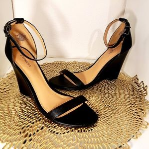 Express black wedge with ankle strap heels
